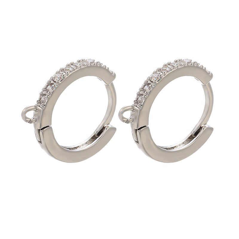 Zircon cubique petit cerceau boucles d'oreilles bijoux accessoire cercle arc-en-ciel or couleur argent bricolage boucle d'oreille