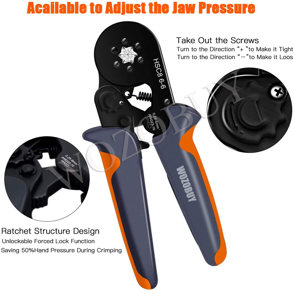 Ferrule Crimping Tool Kit, Hexagonal sawtooth Self-adjustable Ratchet Wire Terminals Crimper Kit with 1900pcs Wire Terminals