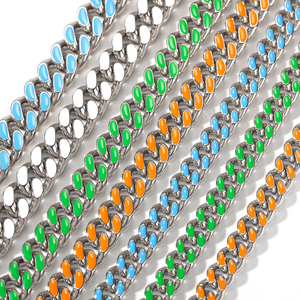 Image 3 - 14mm 316L Stainless Steel Curb Colorful Cuban Link Chain Hip Hop Punk Heavy Gold silver color Plated Cuban Necklace
