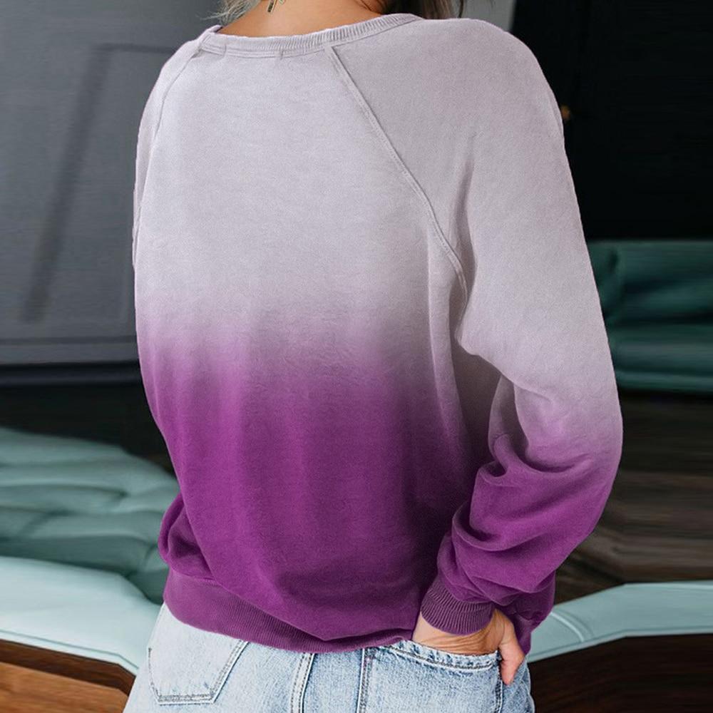 Women's Fashion Long Sleeves Gradient Color Printing Harajuku Casual Sweatshirt Pullovers Tops O-neck Sweatshirts Clothing
