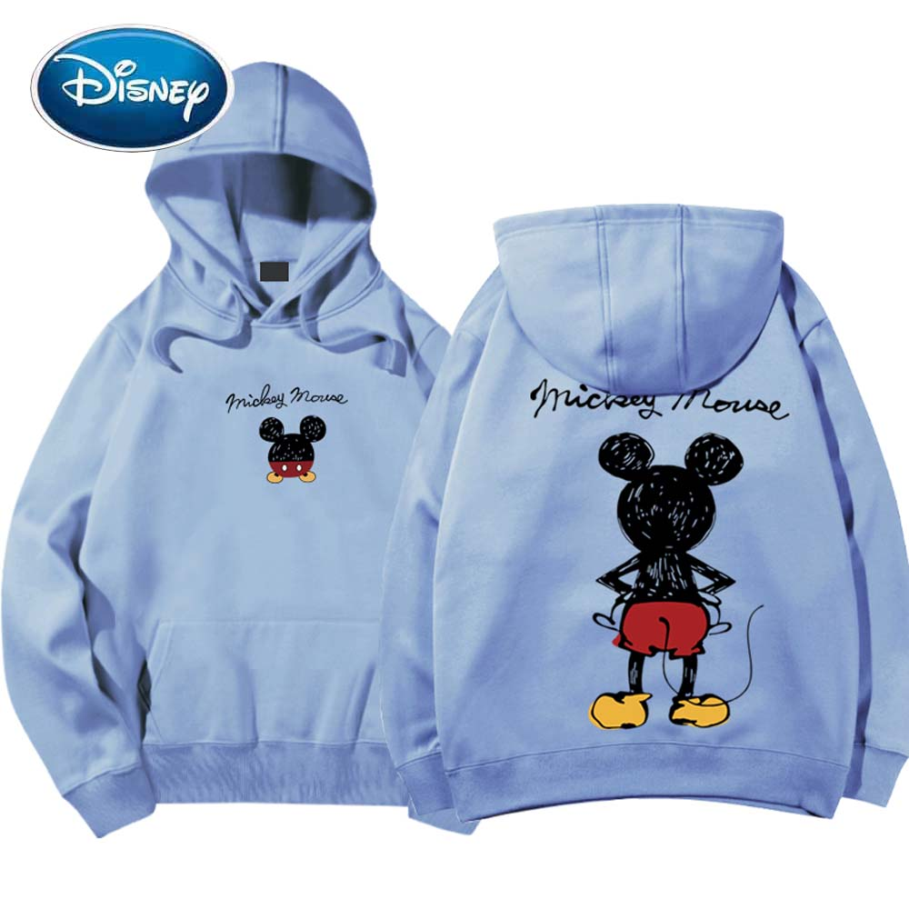 Disney Fashion Mickey Mouse Back View Cartoon Letter Print Hoodie Pullover Couples Unisex Women Sweatshirt Pocket Tops 6 Colors