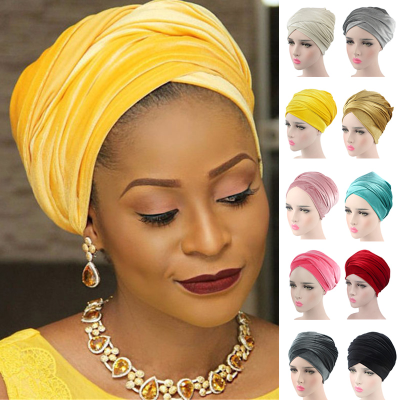 Ladies Muslim Hijabs Hat Long Tail Bandanas Cap Turban Hat Hair Accessories GDD99