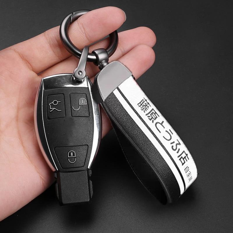 Fashoinal Metal Leather Car Keychain Universal Initial D Fujiwara Tofu Shop Key Chain for Keys Auto Accessories Car Styling Key Rings    - AliExpress