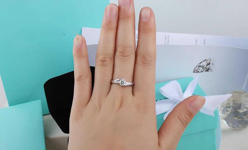 Yanhui anéis de diamante de laboratório, anéis para mulheres de festa de noiva elegante, joias de prata 925, anéis de noivado de casamento r036