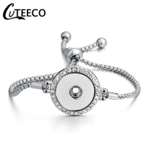 CUTEECO Fashion Lady Charms Bracelet Cubic Zirconia Adjustable Bracelets for Women Button Jewelry Gift