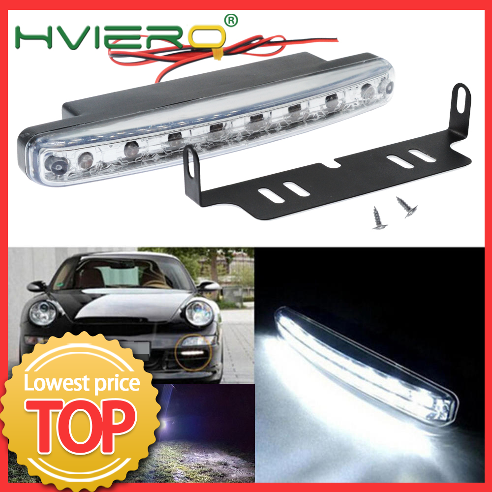Auto Led Durable Auto Led Daytime Running Light 8 LED With Lens White DC 12V 24V Head Lamp Headlight Parking Bulb Fog Lights