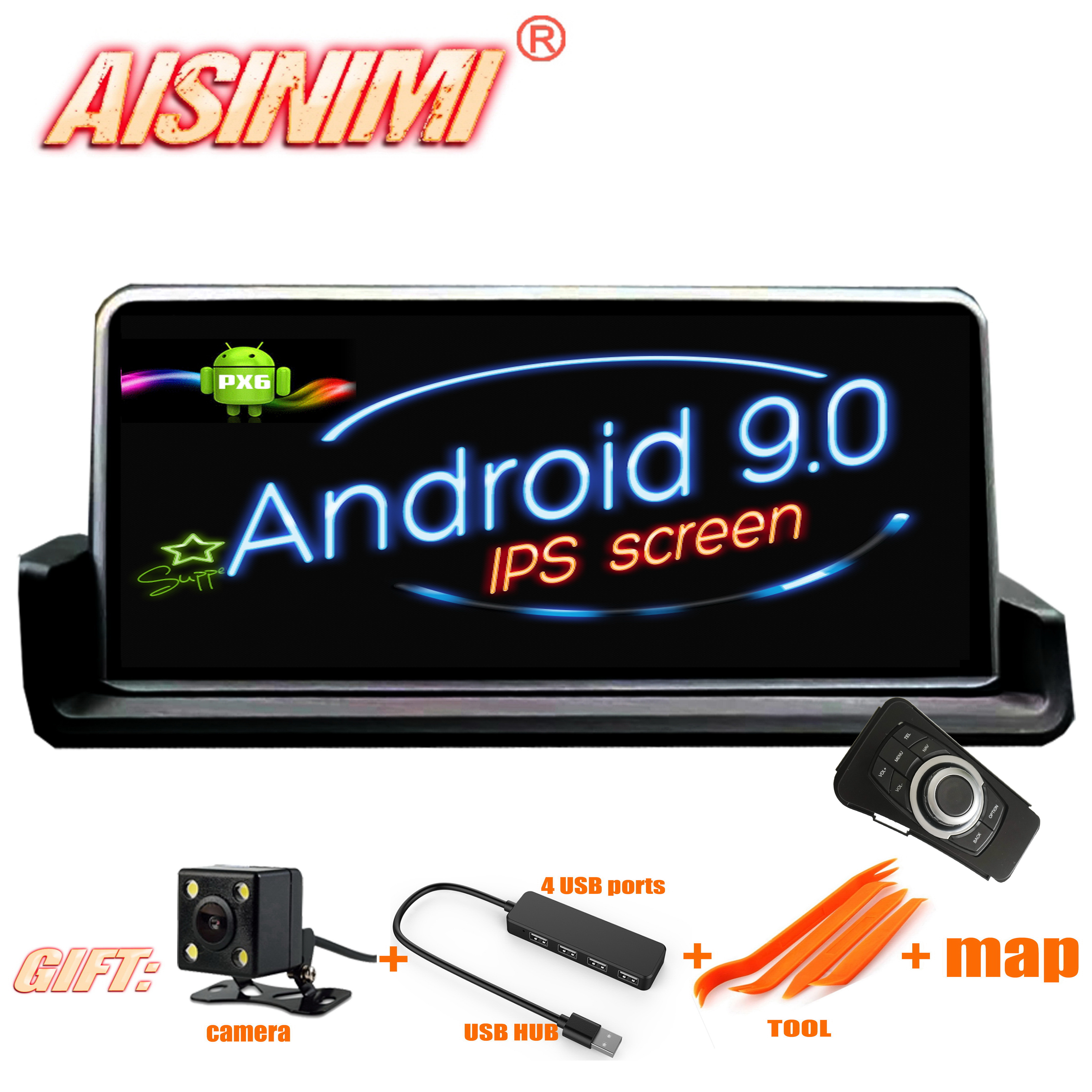 AISINIMI Android 9.0 PX6 Car Dvd Navi Player FOR BMW E90 (2006  2012) with iDrive left driver only audio gps stereo all in one-in Car Multimedia Player from Automobiles & Motorcycles    1