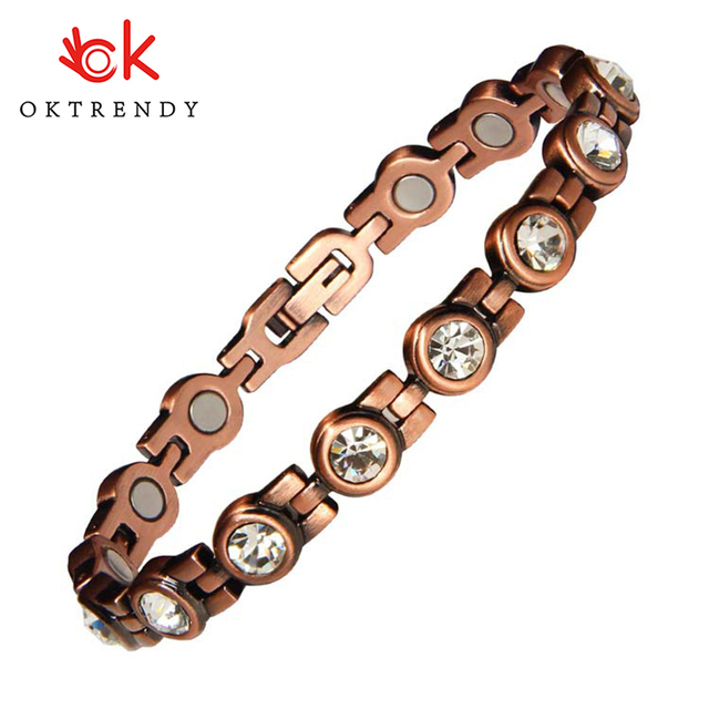 Oktrendy Fashion Copper Magnetic Bangle Bracelet Gift New Trendy Women Round White Crystal Rhinestone Fine Jewelry Female