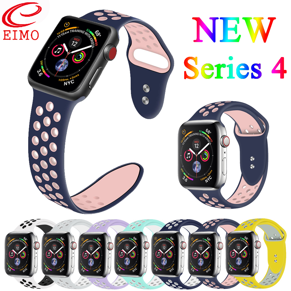 EIMO <font><b>Correa</b></font> For <font><b>Apple</b></font> <font><b>Watch</b></font> Band <font><b>42mm</b></font> 38mm 44/40mm iwatch Series 4 <font><b>3</b></font> 2 1 Nike Sport Strap Silicone bracelet wrist belt watchband image