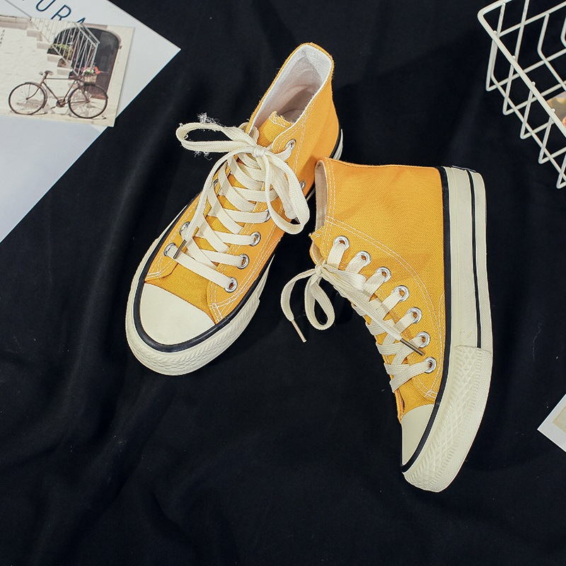 1970s Engraved Students Canvas Shoes Women's Korean-style Casual Board Shoes Harajuku Ulzzang Fashion New Style Trendy Shoes Wom