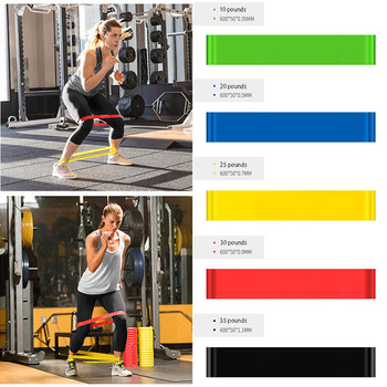 5 Color Yoga Resistance Rubber Bands Fitness Gum X-light To X-heavy Pilates Sport Training Workout Elastic Bands Fitness image