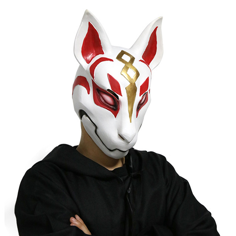 Latex Mask Helmet Halloween Cosplay Unisex Adult Fox Drift Costume Game Party Props Naruto Sakura Birthday Gifts image