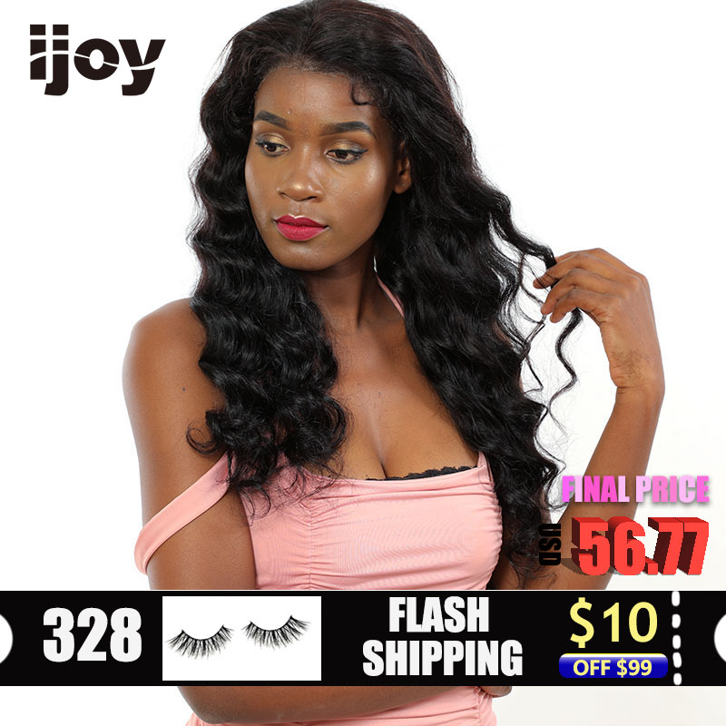 """Deep Wave Wig Human Hair Wigs 4x13 Lace Front Curly Wig Brazilian Hair Non-Remy Wigs Natural Black 12""""-22"""" Real Length Wig IJOY"""