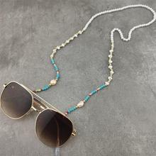 Модные жемчужные очки для чтения, цепочка с каменными бусинами, солнцезащитные очки, держатель для очков, шейный ремешок, веревка, ожерелье, ...