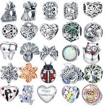925 Sterling Silver Love Berloque Heart Charm CZ Beads Fit Original Bracelet Bangle Authentic DIY Charms For Jewelry Making Gift
