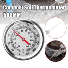 20 Inch 50cm Length Compost Soil Thermometer Premium Food Grade Stainless Steel Metal Measuring Probe Detector 0 100 degree length 10 cm bimetallic thermometer wss 411 stainless steel disc industrial boiler thermometer radial