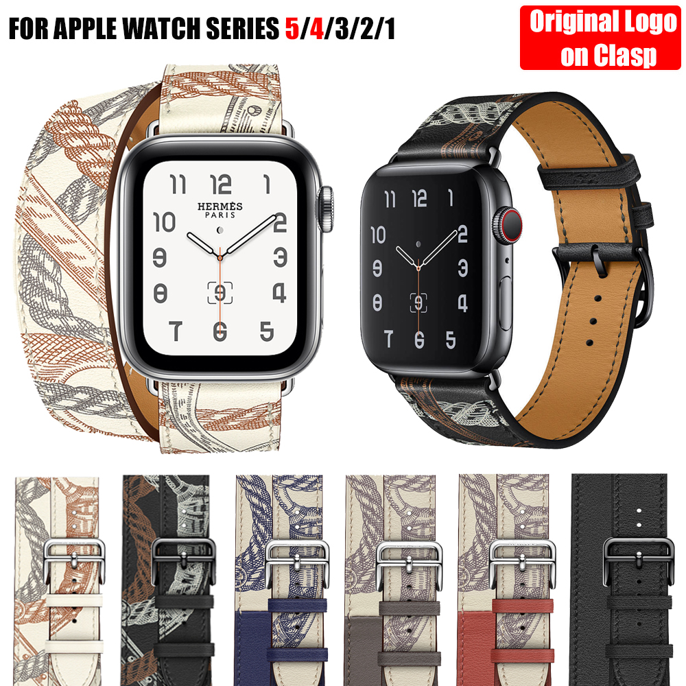 Double Tour Band For Apple Watch Series 5 4 3 2 Strap For IWatch Pulseira Smart Watch Genuine Leather Loop 38mm/40mm /42mm/44mm