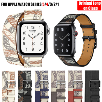 цена For Apple Watch Band 5 4 3 2 1 Herm Logo Genuine Leather iWatch Bracelet Strap Bands for Apple Watch Band 44mm 40mm 42mm 38mm онлайн в 2017 году