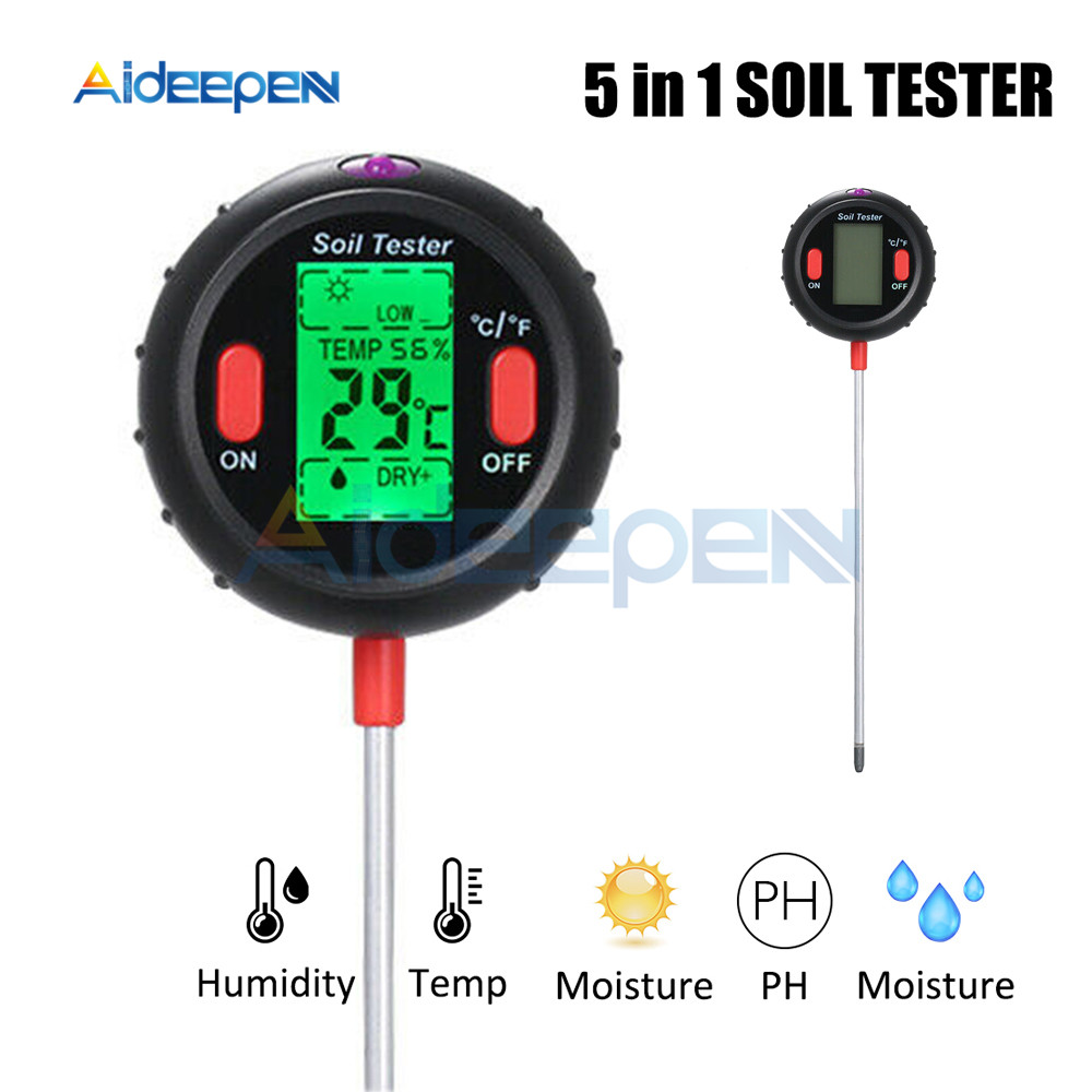 5 In 1 Digital PH Meter Soil Water Moisture Monitor Temperature Humidity Analysis Sunlight Tester For Gardening Plants Farming|PH Meters| |  - title=