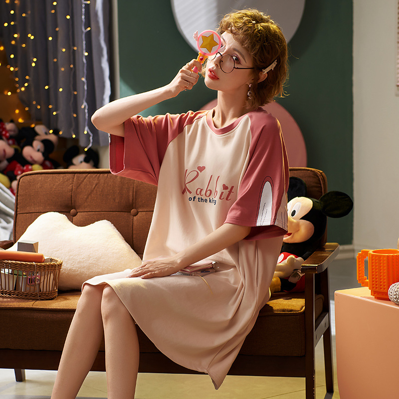 JULY'S SONG Cotton Womens Nightdress Casual Short Sleeve Knee-length Homewear Animal Cute Mujer Cartoon Sleepwear Dress Women