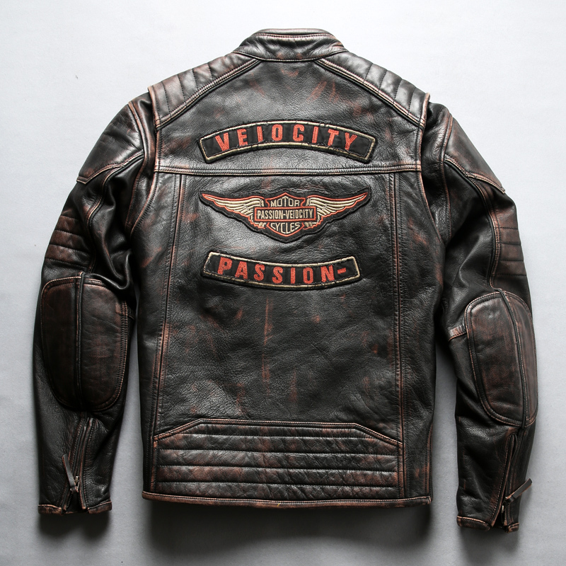 2020 New Men Genuine Motorcycle Leather Jacket 3D Embroidery Calf Cowhide Real Leather Jacket Plus Size 5XL Bomber Biker Jacket