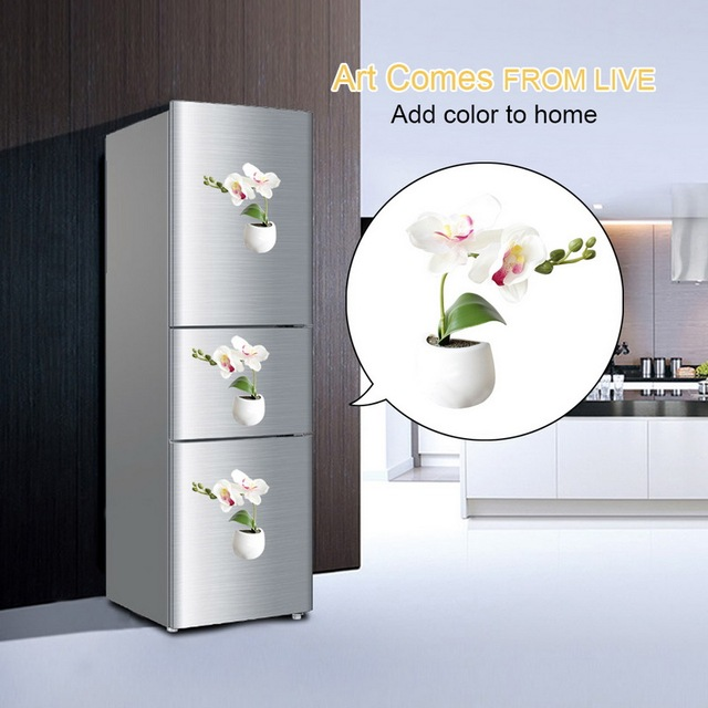 3d Fridge Sticker Magnetic Succulent Plant Fridge Magnet Sticker Bouquet Flower Fridge Potted Plant Sticker For Home Wall Decor 5