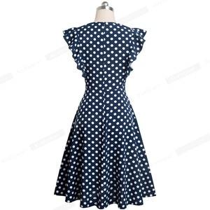 Image 2 - Ładny na zawsze Retro kropki rękaw z falbankami vestidos z koronką Party kobieta Swing Flare kobiety sukienka A175