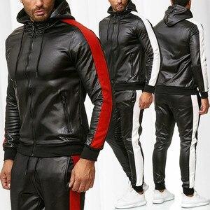Кожаные зимние спортивные костюмы, мужской комплект, утепленные толстовки + штаны, костюм, зимний свитшот, спортивный комплект, мужская толс...