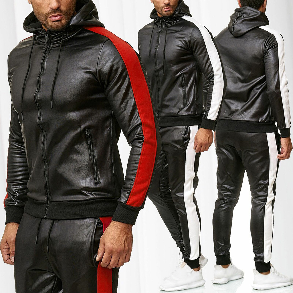 Leather Winter Tracksuits Men Set Thicken Hoodies + Pants Suit Winter Sweatshirt Sportswear Set Male Hoodie Sporting Suits