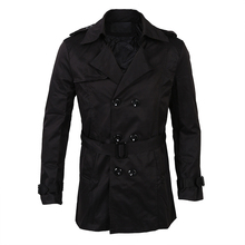 Mens Winter Slim Double Breasted Trench Coat Long Jacket Overcoat Outw