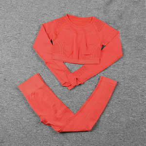Image 5 - Sportswear Yoga Sets Frauen für Fitness Kleidung Frau Gym Padded Langarm Shirt Leggings Push up Nahtlose Sport Anzüge, ZF328