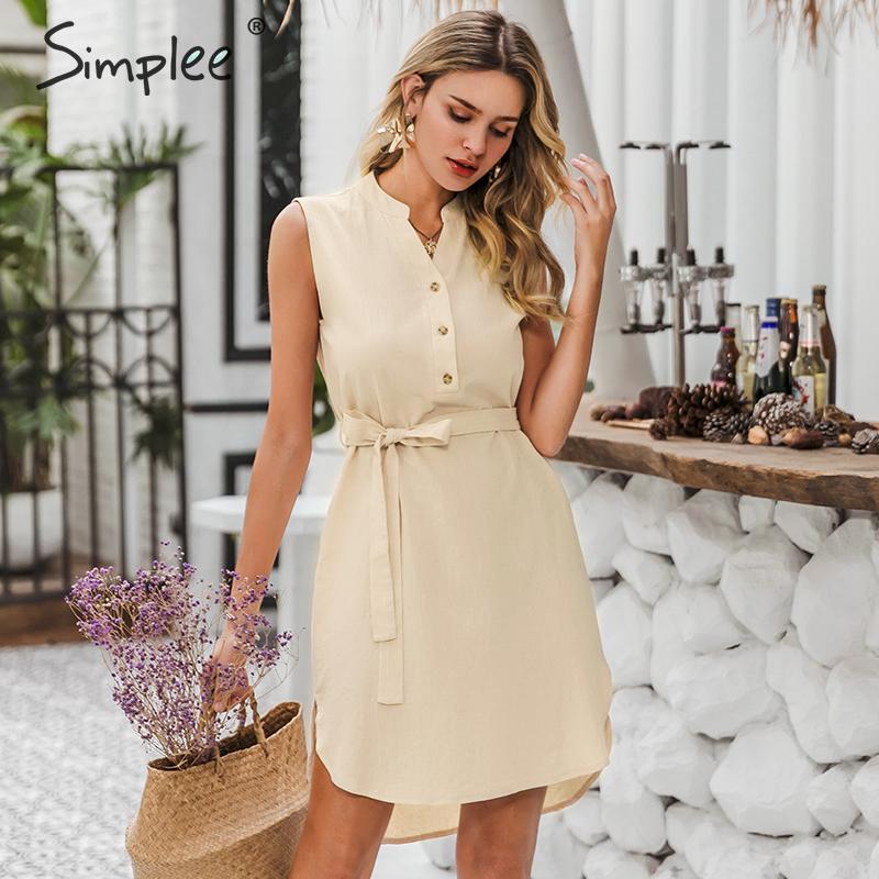 Image 3 - Simplee Sleeveless women spring dress Elegant v neck solid single breasted mini dress Summer lady cotton chic belt office dressDresses   -