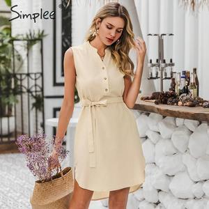 Image 3 - Simplee Vestido corto de algodón sin mangas, vestido elegante de mujer para oficina, liso, con cuello de pico y una sola hilera de botones para verano
