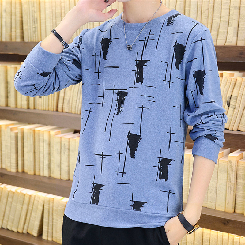 2021 Men's Autumn New Pullover Long Sleeve Slim Thin Casual Handle Hair Also Teenagers Soft Printed Knitted Bottoming Shirt 2