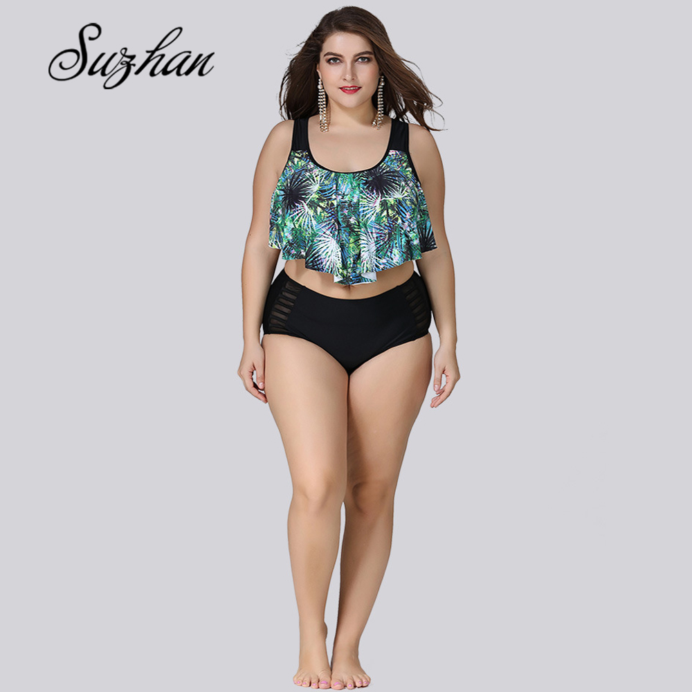 Suzhan Bikini Set Plus Size High Waist Split Swimsuit Tankini Swimsuit Women's Large Size Short Bikini Two-Piece Swimwear