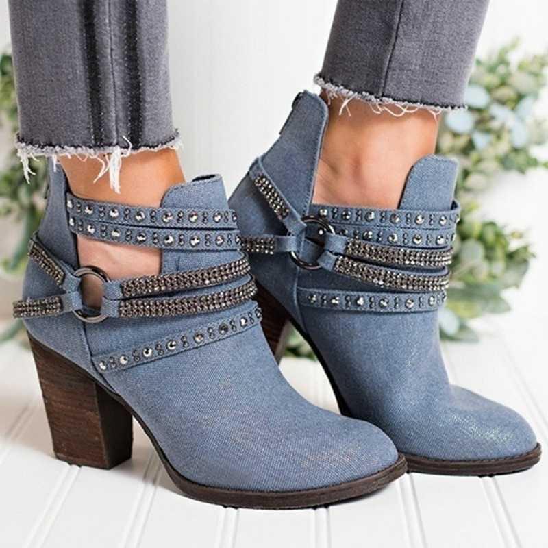 Botas de tacón alto para mujer, botas de tobillo para mujer, botas casuales para fiesta, botas cortas para mujer, botas con hebilla para cinturón
