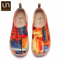 UIN Color Zone Painted Women/Men Casual Flats Breathable Slip on Loafers Designer Shoes Outdoor Fashion for Christmas Gifts