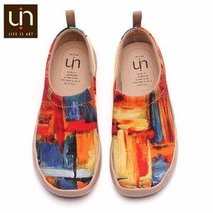 Uin zona de cores pintados feminino/masculino casual apartamentos respirável deslizamento-em sapatos de designer de moda ao ar livre para presentes de natal