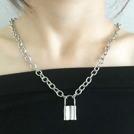Kolor srebrny kłódka wisiorek naszyjniki Brand New link łańcuch z zamknięciem naszyjniki kołnierz ras du cou collier femme kobiety biżuteria punkowa
