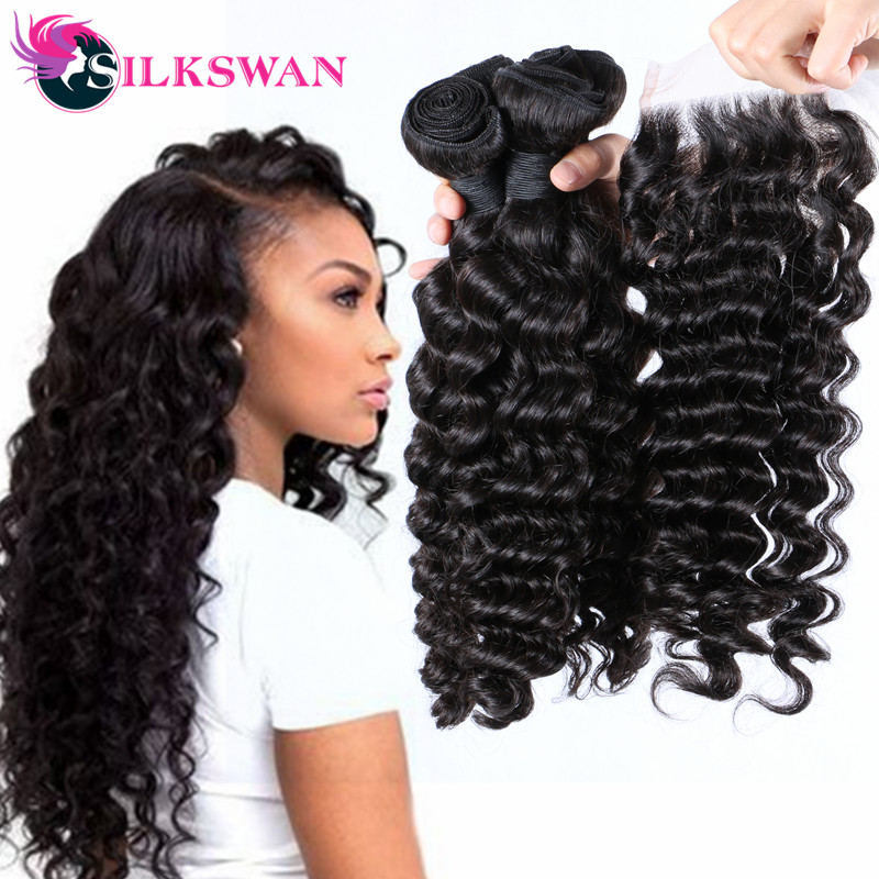 Silkswan Deep Wave 3 Bundles With 4x4 Lace Closure Brazilian Remy Human Hair Natural Black 4pcs/lot Hair Extension For Women