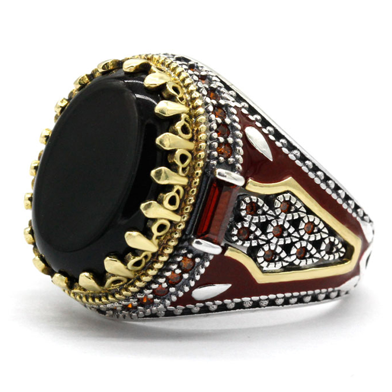 Turkey Jewelry Men Ring with Black Natural Agate Stone 925 Sterling Silver Vintage King Crown CZ Red Enamel Rings for Male Gift