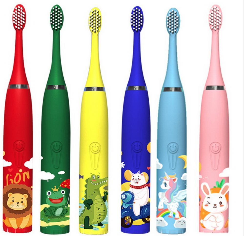 Elektryczne szczoteczki do zębów dla dzieci Cartoon wzór Sonic Cleaning IPX7 wodoodporne wymienne główki do szczoteczki USB ładowarka inteligentny czasomierz