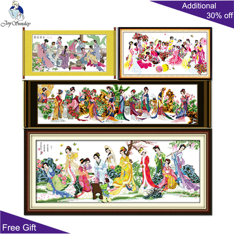 Alegria Domingo China Home Decor R071r072r157r180 Namoradas Flores Florescem Senhoras Dream of Red Mansions Doze Jinling Ponto Cruz