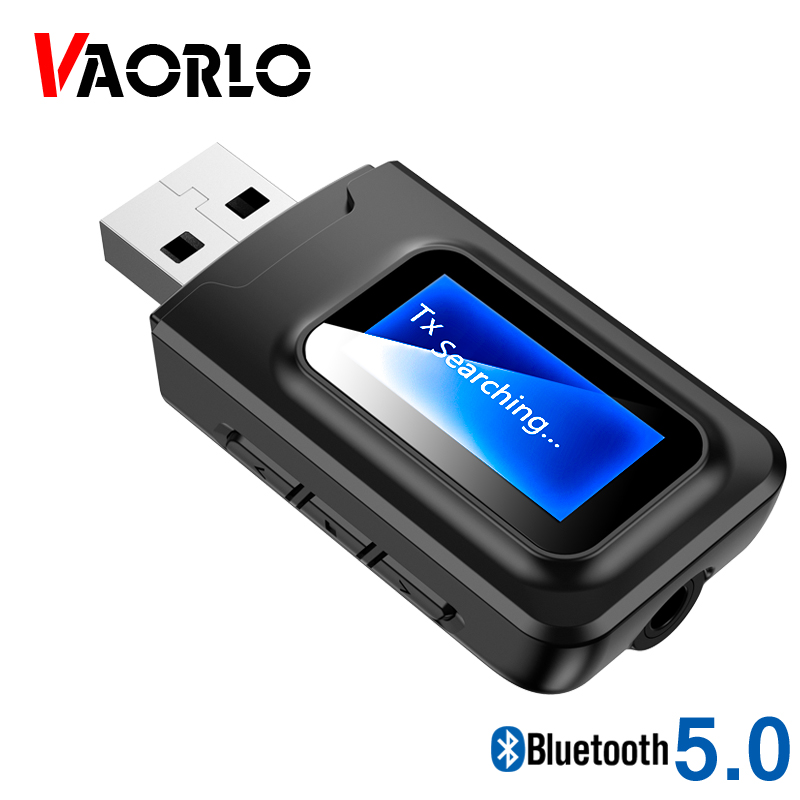 VAORLO <font><b>USB</b></font> <font><b>5.0</b></font> Dongle Transmitter <font><b>Bluetooth</b></font> Receiver For Headphone LCD Display Wireless Low Latency Adapter Stereo Music Adaptor image