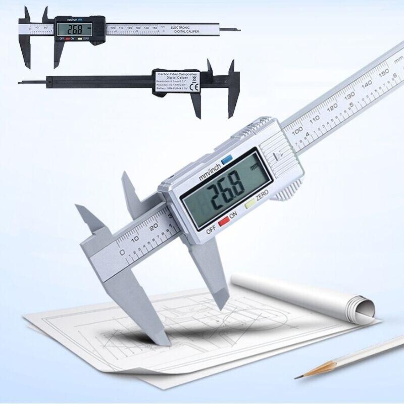 Цифровой Штангенциркуль с нониусом измерения 150 мм 6 дюймов ЖК-дисплей электронных углеродного оптоволоконный датчик высоты измерительных ...