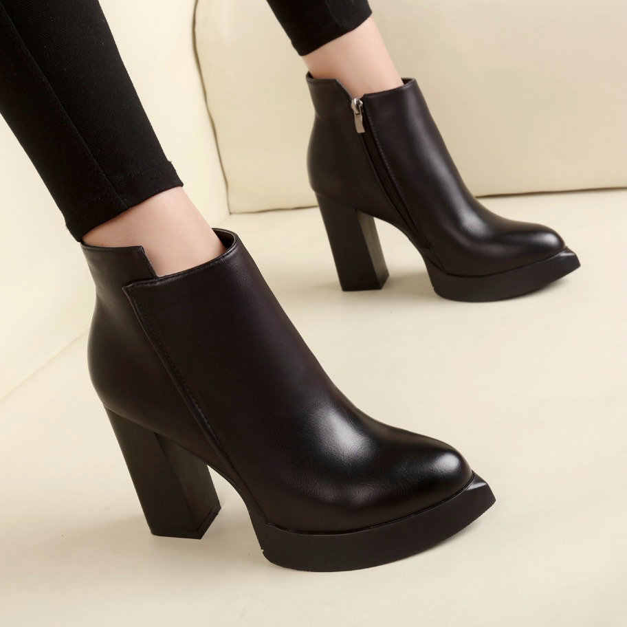 2019 New Women's Ankle Rain Boots Autumn Oxford Shoes Woman Dress Zipper Shoe Formal OL High Heels Lady Black Chelsea Footwear
