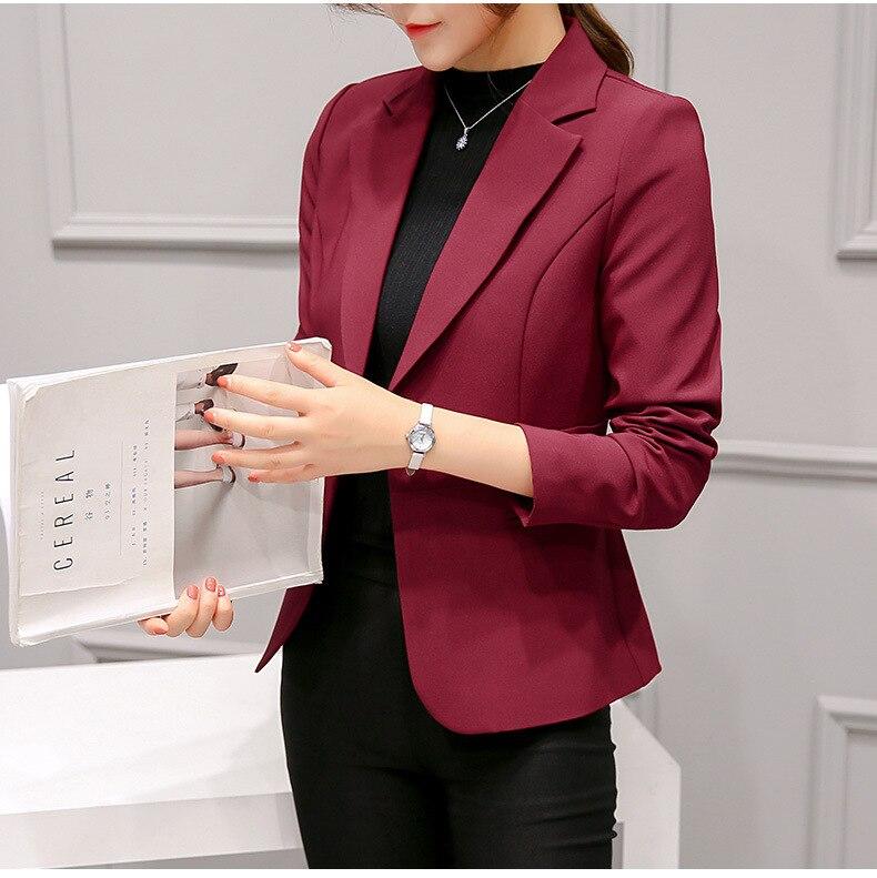 Black Women Blazer Formal Blazers Lady Office Work Suit Pockets Jackets Coat Slim Black Women Blazer Femme Jackets 21