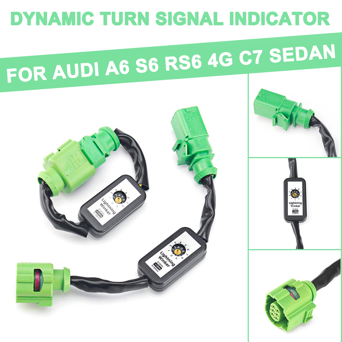 2pcs Dynamic Turn Signal Indicator <font><b>LED</b></font> Taillight Module Cable Wire Harness For <font><b>Audi</b></font> <font><b>A6</b></font> S6 RS6 4G C7 Sedan Left&Right <font><b>Tail</b></font> <font><b>Light</b></font> image