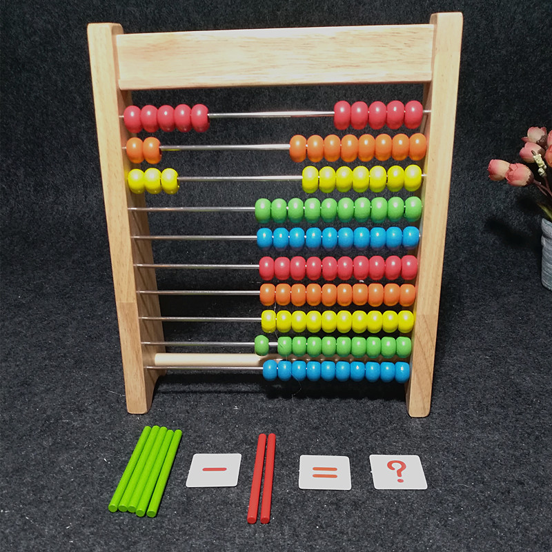 Counter Young STUDENT'S Arithmetic Teaching Aids Kindergarten Addition And Subtraction Hanger For Kids Wood Abacus Calculation Z