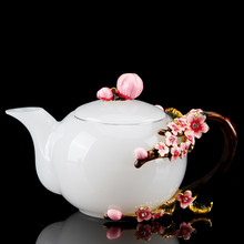 White Jade Porcelain Enamel Color Teapot lily Tea Set Household Small Single Pot Heat-Resistant Glass Kung Fu Tea Kettle Pot(China)